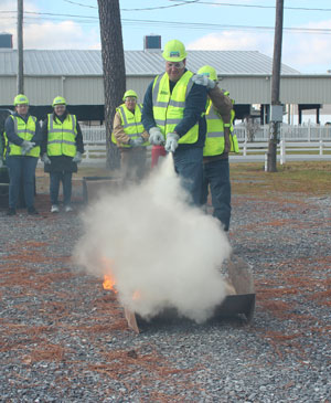Instructors practice fire supression